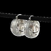 Sterling Silver | Wedding Band Hoop Earrings | Hand-Stamped