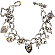 REDUCED Patricia Locke   Vintage Heart & Lock   Swarovski Crystal Bracelet   Size 7