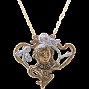 14K | Art Nouveau | Figural Pendant | Enamel with Rhinestones