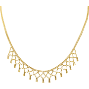 14K Yellow Gold | Bead Fringe Necklace | 17 Inches