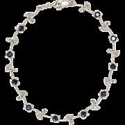 14K White Gold | Blue Sapphire & Diamond Bracelet | 7 Inches