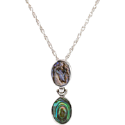 "Striking | Sterling Silver | Abalone 2-Tier Pendant | 20"" Sterling Silver Chain"