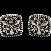 18K & Sterling Silver | Black Onyx | Omega Back | Earrings