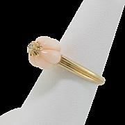 14K Yellow Gold | Natural | Angel Skin Coral & Diamond Ring | Size 6