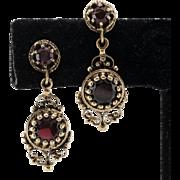 14K Yellow Gold | Victorian | Garnet Gemstone | Earrings