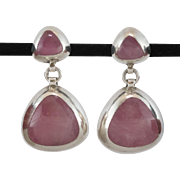 Sterling Silver | Rose Quartz | Drop Earrings |