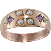 9ct Rose Gold | Band Ring | Seed Pearl & Amethyst | Size 8-1/2