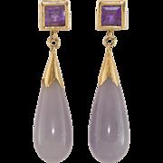 14K Yellow Gold | Amethyst | Lavender Jade | Earrings