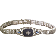 14K W G | Art Deco | Diamond, Sapphire, Black Onyx | Filigree Bracelet
