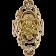 14K Yellow Gold   Art Nouveau Figural Diamond Ring