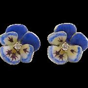 14K Yellow Gold | Diamond Pansy Earrings