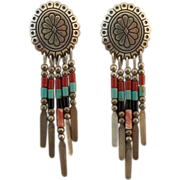Sterling Silver Zuni Concho Chandelier Earrings With Tube Beads
