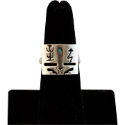 Signed Navajo Storytelling Sterling Silver Ring Size 6 1/2