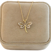 "10k Yellow & White Gold Dragonfly Pendant with 18""- 14K Gold Chain"