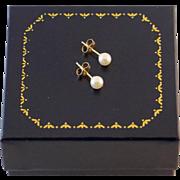 14K Gold Cultured Pearl Earrings Post Back