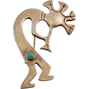 Sterling Silver Kokopelli Brooch with Turquoise 2 1/4""
