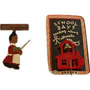 Vintage School Days Pins & Schoolmarm Pin Duo