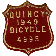 Red and White License Plate Bicycle