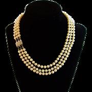 SALE Rare Art Deco CORO Faux Pearl Necklace Sterling Silver Clasp