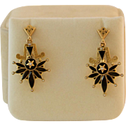 SALE 14K Gold Victorian Onyx, Pearl, and Enameled Earrings