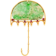 SALE CERTIFIED Jadeite Jade 14k Gold Umbrella Brooch