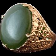 14K Gold Nephrite Jade Ring