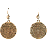 Sterling Silver Aztec Calendar Disc Earrings