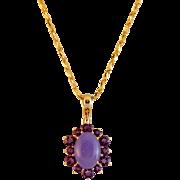 SALE 14K Gold Lavender Jadeite Jade and Amethyst Enhancer with 14K Gold Chain