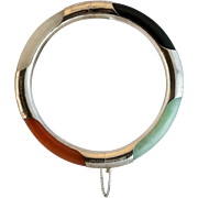 Striking Four Color Jade Hinged Sterling Silver Bangle