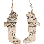 Hand Etched Sterling Silver Christmas Stocking Earrings