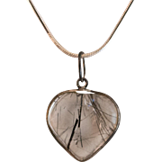 Wonderful Old Rutilated Quartz Heart Pendant