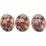 SALE Beautiful Hand Painted Porcelain Buttons with Flower Motif