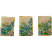 Three Beautiful Hand Painted Porcelain Buttons with Flower Motif