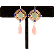 Sterling Silver Jade, Rose Quartz and Lapis Earrings