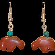 Sterling Silver Red Jasper & Turquoise Buffalo Earrings