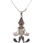 SALE Articulated Sterling Silver Clown Pendant with 24 Inch Chain