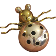 Delightful Sterling Silver Lady Bug Pin