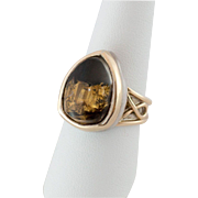 14K Gold & Sterling Silver & Crystal Ring with Pyrite