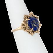 14K Gold Lapis Lazuli Ring Size 6 3/4