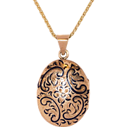Sweet Art Nouveau 14K Rose Gold Enameled Locket