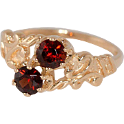 14K Rose Gold Garnet Double By-Pass Ring Size 4