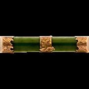 Victorian 10K Gold Nephrite Jade Bar Pin