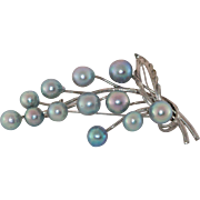Akoya Cultured Blue Pearl Sterling Silver Brooch
