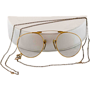 Art Deco Gold Filled Folding Eye Glasses with Lorgnette Chain & Case
