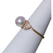 18K Yellow Gold Mikimoto Akoya Pearl & Diamond Ring