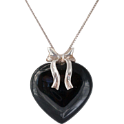 Large Sterling Silver Black Onyx Heart Pendant with Chain