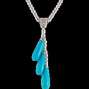 14K White Gold Gorgeous Turquoise Diamond Drop Necklace
