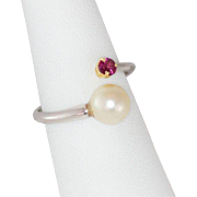 14K White Gold Freshwater Pearl & Ruby Ring Size 8