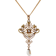 Victorian Diamond & Seed Pearl Lavaliere Necklace