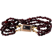 Rolled Gold Art Deco Garnet Bracelet 6-3/4 Inches